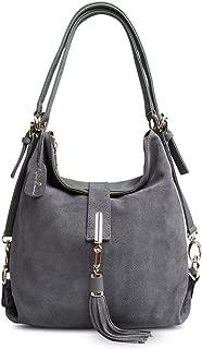 Nico Louise Women Genuine Suede Leather Tassel Handbag Backpack Shoulder Bag