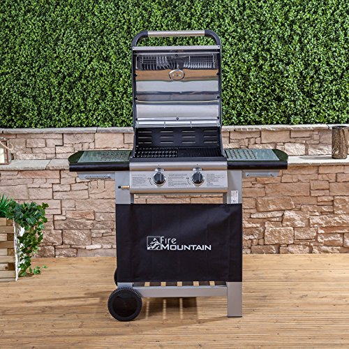 Fire Mountain Everest 2 Burner Gas Barbecue | Premium Stainless Steel | Superior Cast Iron Grill and Griddle