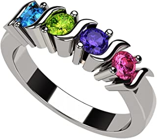Central Diamond Center Nana S-Bar Mothers Ring 1 to 6 Simulated Birthstones in Silver or 10k White, Yellow or Rose Gold