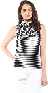Miss Chase Women's Cotton Sleeveless High Neck Top