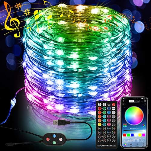 10M 100 LED Bunt Lichterkette, 16 Farbe 8 Modus USB Kupferdraht Lichterkette mit Fernbedienung und Bluetooth Kontroller Sync zur Musik, Anwendung für Schlafzimmer, Party und Feriendekoration