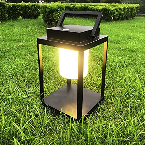 FLORNIA Tischlaterne Außen Wiederaufladbare Outdoor LED Metall Gartenleuchte Außenlampe Dekorationen Campinglampe für Weg Garten Patio Terrasse und Hof Weihnachten(Warmweiß)