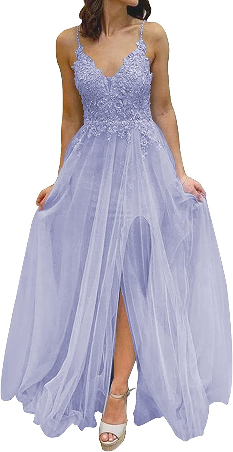 Prom Dress Formal Evening Gowns Lace Evening Dresses with Split V Neck Prom Dresses