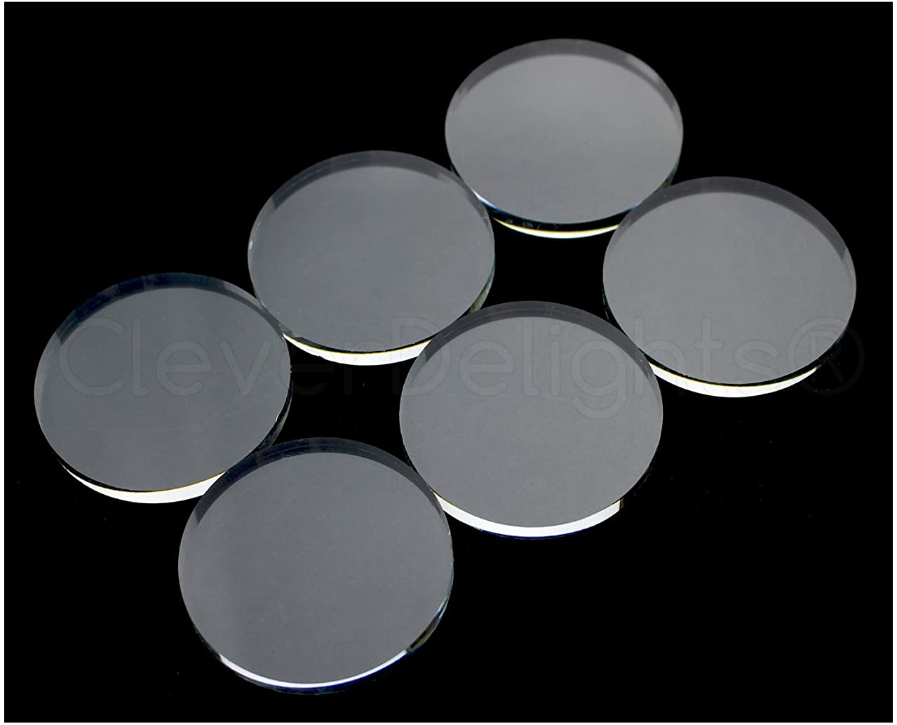 50 CleverDelights Round Glass Tiles - 40mm (1 9/16