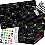 Magnetic Calendar For Fridge Chalkboard - Weekly & Monthly Black Dry Erase Refrigerator Board - 2021 Chore Chart Meal Planner - 11' x 17'