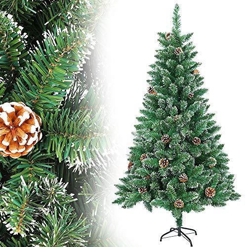 LZQ - Albero di Natale artificiale in PVC, ignifugo, con sistema di montaggio rapido, con supporto, in PVC verde con effetto neve con pinne di pino, 240 cm