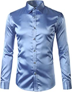 1a7999ec00785d KennsGations Silk Satin Shirt Men Long Sleeve Slim Fit Mens Dress Shirts  Business Wedding Male Shirt