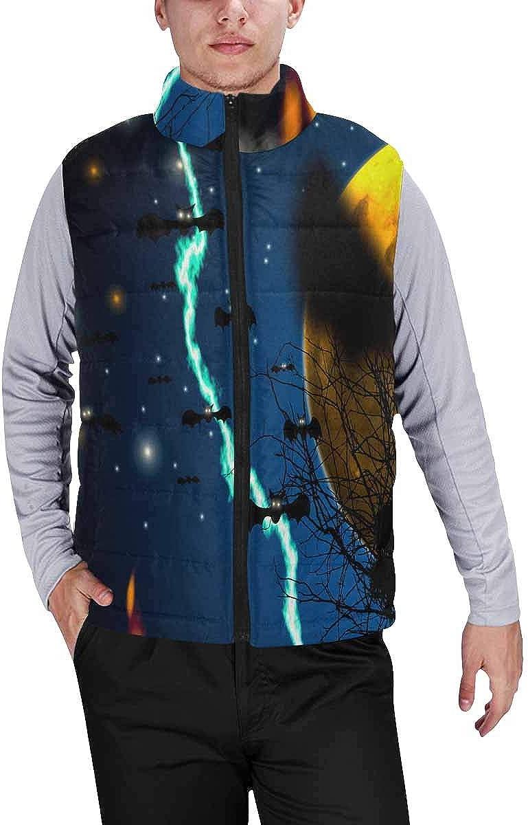 InterestPrint Men's Outdoor Casual Stand Collar Sleeveless Jacket Halloween Background