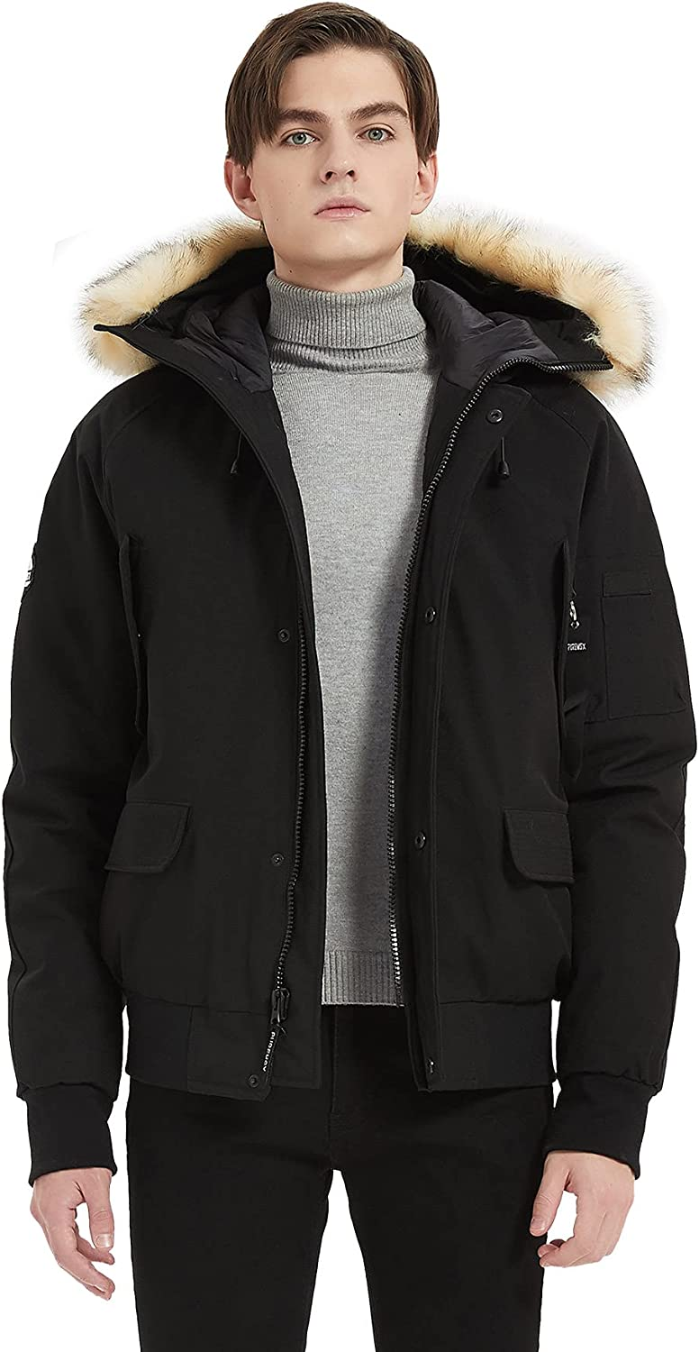 PUREMSX Mens Bomber Tucson Mall Jacket Winter Oakland Mall Fashion Hooded A Classic Down