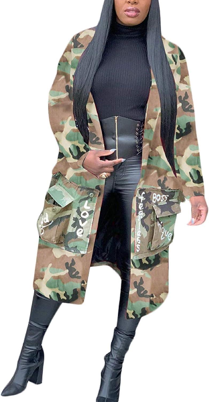 Women's Plus Size Casual Camo Super special price trust Jacket Lip Dow Button Print Sequin