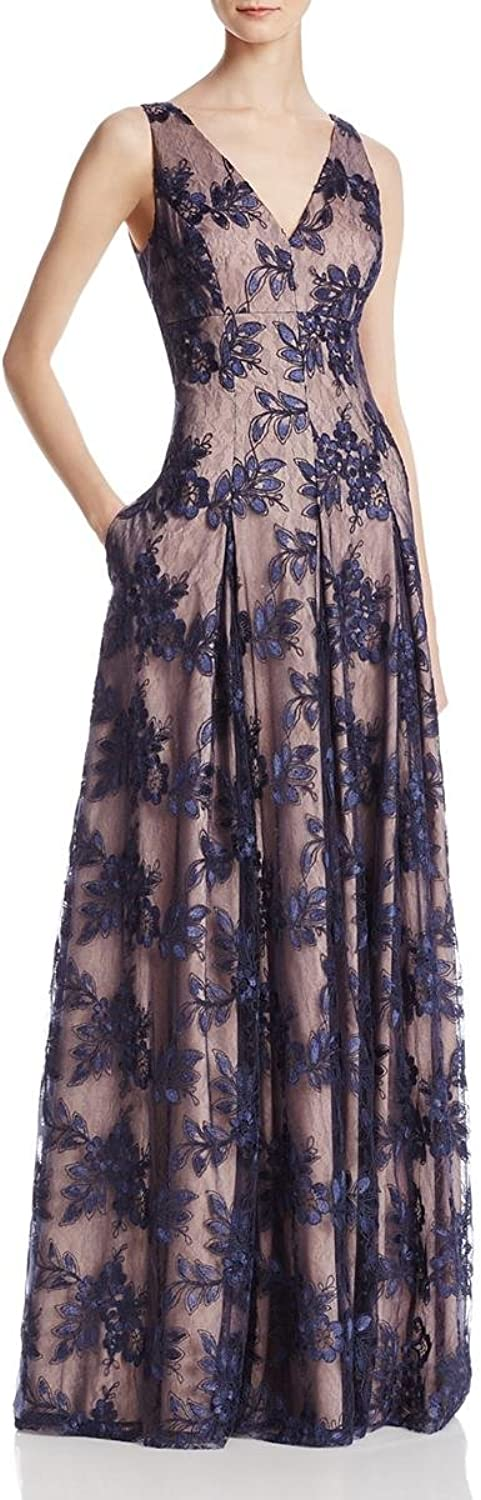 Aidan Mattox Womens Lace Sequined Evening Dress