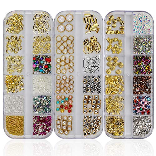Mwoot Steinchen Set für Nageldesign (3 Boxen), Gemischte Glitzersteine (900Stk) Fingernägel Aufkleben Zubehör, Strassstein Set mit Pinzette