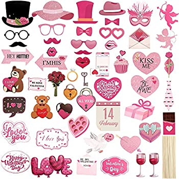 54 Pieces Valentine s Day Photo Booth Props Pink Valentine s Day Wedding Photo Props Includes Heart Bouquet Mustache Lip Party Supplies Favors for Holiday Wedding Engagement Birthday Anniversary