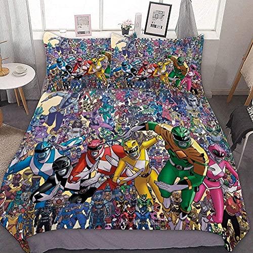 Cool Power Rangers - Funda de edredón súper suave y cómoda para anime (juego de 3 partes)-R4_220 x 240 cm+80 x 80 cm x 2