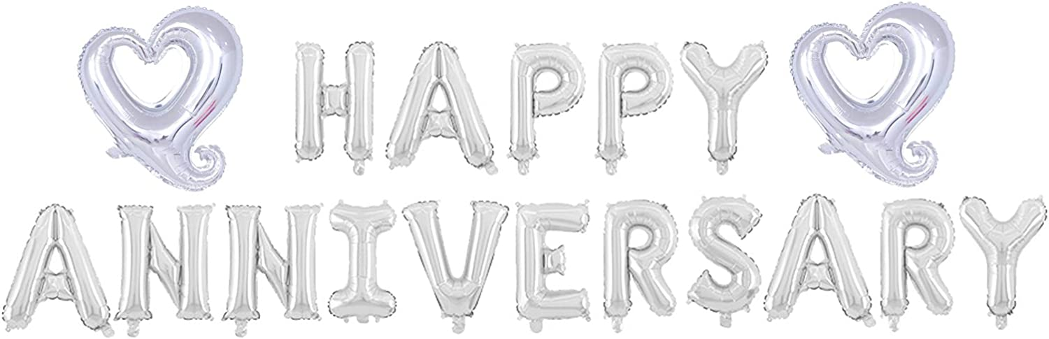 Happy Anniversary Balloon Banner,Wedding Anniversary Party Decorations,Love Party and Anniversary Party Supplies,16 Inch Aluminum Foil(Silver).