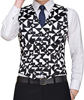 Men's Floral Printed Pattern Dress Vest Set for Suit Tuxedo