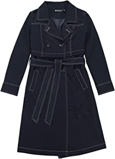 Allegra K Women's Double-Breasted Notched Lapel Trench Coat with Belt