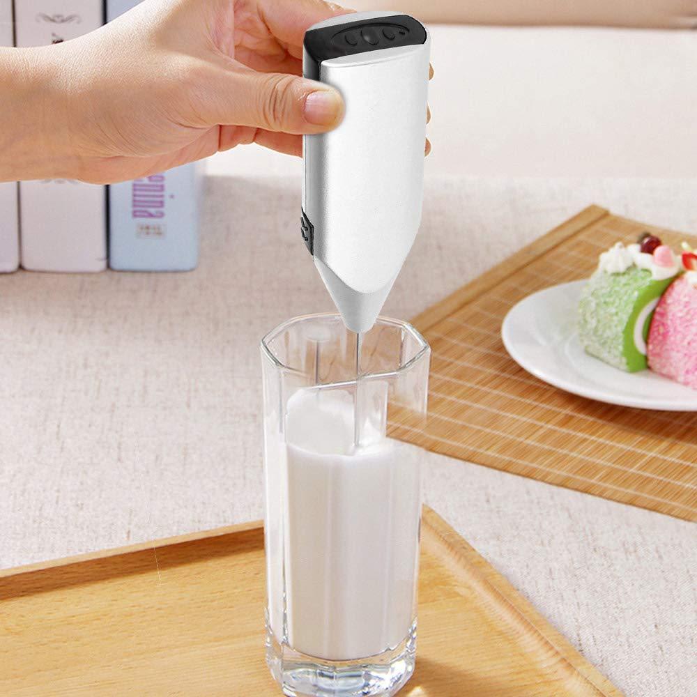 FreeLeben Espumador de leche de acero inoxidable One Touch de mano, licuadora espumosa Espresso Cappucino Latte Maker Batidor de huevos, funciona con batería: Amazon.es: Hogar