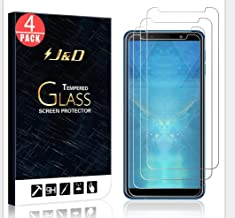 J&D Compatible for 4-Pack Galaxy A7 2018 Glass Screen Protector, [Tempered Glass] [Not Full Coverage] HD Clear Ballistic Glass Screen Protector for Samsung Galaxy A7 2018 Screen Protector