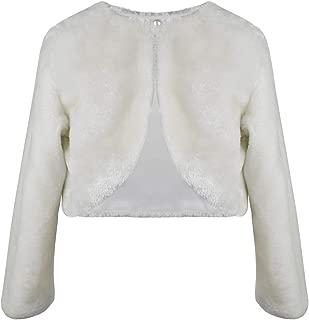 Girls Princess Faux Fur Bolero Shrug Long Sleeve Girl Dress Coat for Party Wedding