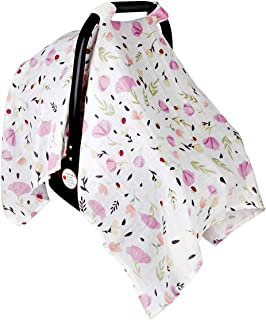 Baby Car Seat Cover Infant Carseat Canopy, Lightweight Breathable Soft Nursing Cover ups Cotton Muslin for Babies Shower Gift by Metplus (Purple Flower)