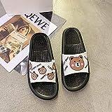 LNLJ - Pantuflas de masaje de moda antideslizantes personalizadas, sandalias y pantuflas planas, diseño de dibujos animados, para mujeres y blancas, 36