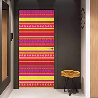 Onefzc Door Wall Sticker Mexican Vibrant Colored Striped Pattern with Abstract Lizard Animal Figures Folk Borders Mural Wallpaper W32 x H80 Multicolor