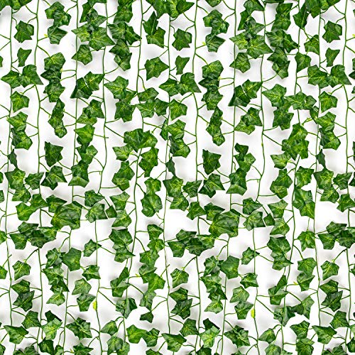 COCOBOO 12 Pack Artificial Ivy Fake Vines for Room Decor Artificial Garland Ivy UV Resistant, Home Kitchen Garden Office Party Wedding Wall Decoration, 84 Feet