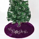 Gireshome Centro bordado de flores de terciopelo morado, borde de terciopelo plisado, falda de árbol de Navidad, decoraciones de fiesta de Navidad, 91,4 cm