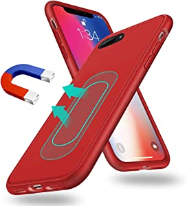 Magnetic Case for iPhone 7 Plus/8 Plus,[Invisible Built-in Metal Plate] Support Magnetic Car Mount,Soft TPU Shockproof Anti-Scratch 360 Protective Cover for iPhone 7 Plus/8 Plus 5.5'' Red