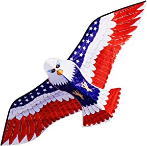 "HONBO Huge Patriotic Eagle Kites for Adults and Kids,Easy to Fly for Beach Trip, Outdoor Activities-Wingspan 73""-200ft Line with Swivel---2 Long Bonus Tails---Bonus Durable Polyester Bag"