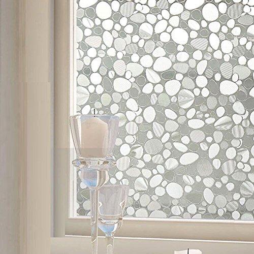 Copertura decorativa per finestre pellicola per vetro, statica 3D Pebble pellicola di vetro senza colla, 45x 199,9cm e anti-UV privacy protezione per casa ufficio cucina (45x 200cm)