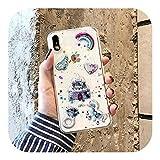 3D漫画グリッター流砂 Ricece電話ケースFor iPhone 11プロマックスケースX XS MAX XR 6 7 8プラスアイスクリームキャンディソフトTPUカバー-Style 2-For iPhone X