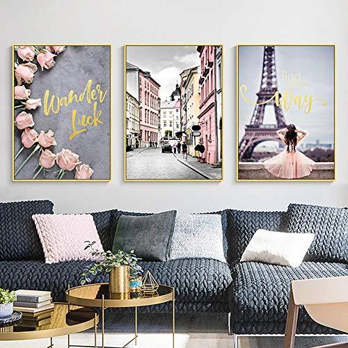 LCSD Mural Nordic Paisaje Urbano Paisaje De Flores Decoración De La Pintura 3 Unids/Set De Oro Marco De Imagen Pintura Mural De La Pared 30 * 40 CM Simple Simple Sala De Estar En Casa Sofá Hotel HD