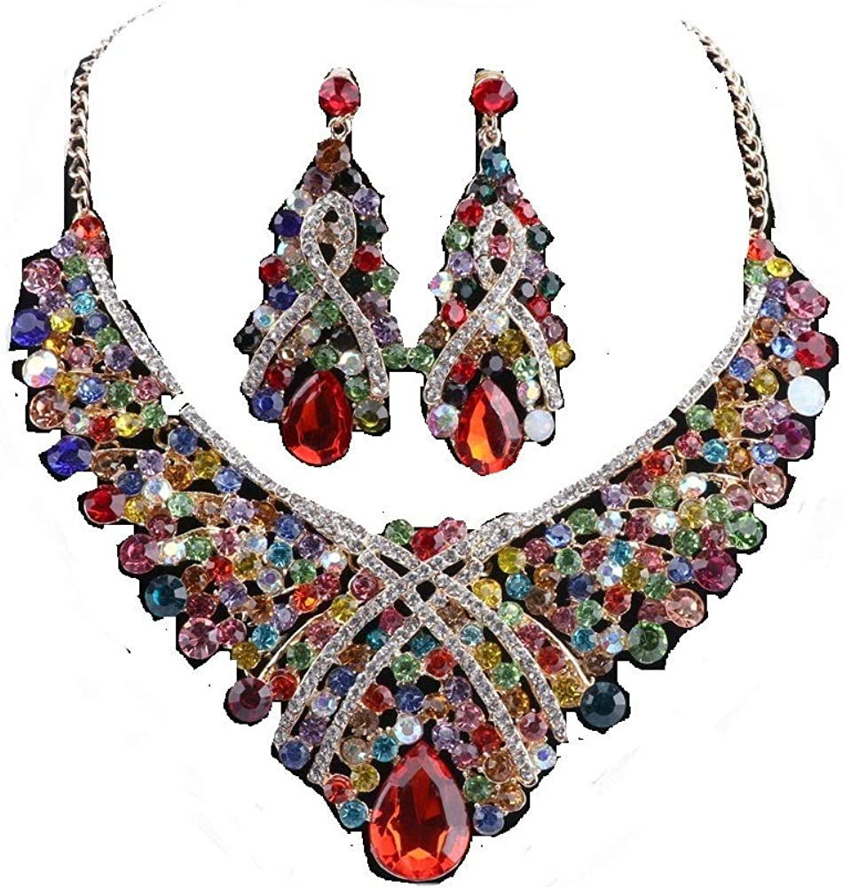 Women Crystal Jewelry Set Teardrop Rhinestone Statement Necklace Earrings Sets for Wedding Party with Boxes