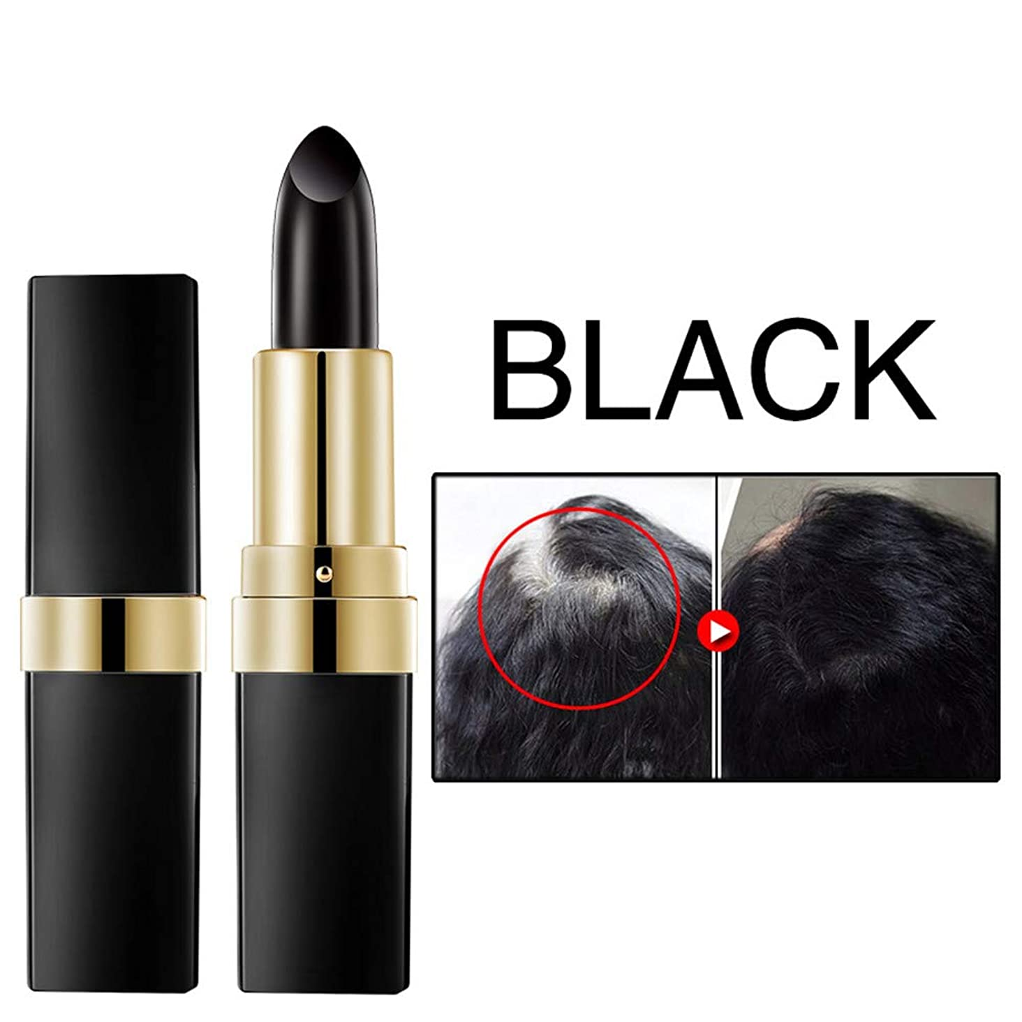 ギャングスタールーム偏見ワンタイムヘア染料インスタントグレールートカバレッジヘアカラー変更クリームスティック一時的なカバーアップ白い髪の色の染料 3.8 g (ブラック)