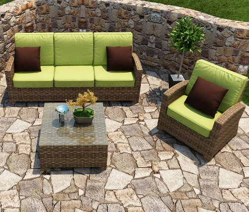 Hot Sale Cypress 3 Piece Sofa Deep Seating Group with Cushion Fabric: Spectrum Kiwi / Self Welt