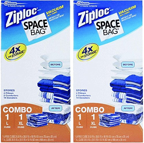 Ziploc Space Bag , 4 Piece Cube Combo Vac Bags (2 Large and 2 Extra Large)