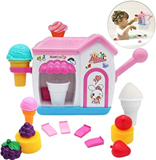 Auggie Bath Toys for Toddlers Foam Maker Bathtub Ice Cream Bubble Pretend  Cake Play Set Tub Water Bathtime Toys Gift for Girls Boys Kids Age 2 3 4 5 Years Old