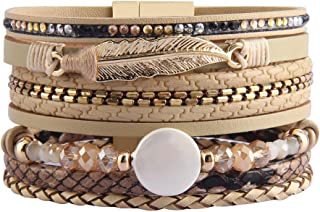 Womens Leather Cuff Bracelet Baroque Pearl Wrap Bracelets Gorgeous Gold Tube Bangle Handmade Wristbands Jewelry Bohemian Gift for Women, Teen Girls, Mother