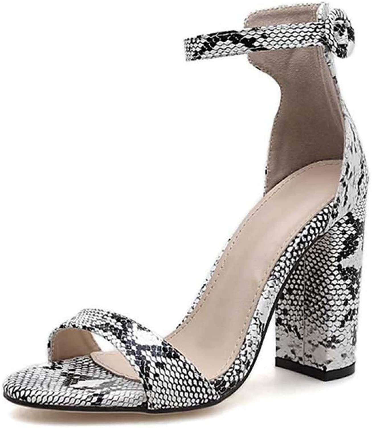 Womens Snake Print Square Heel Sandals Fashion Ankle Strap Open Toe Ladies Sexy Party shoes