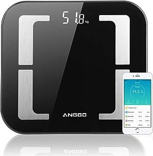 ANGGO kroppsfettvåg, Bluetooth personvåg smart digitalvåg med APP BMI kroppsanalysvåg för vikt, muskelmassa, vatten, prote...