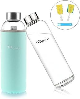 Ryaco Botella de Agua Cristal 550ml, Botella de Agua