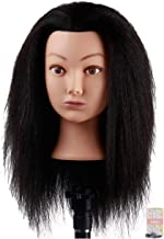 Kalyx Cosmetology Afro Mannequin Head with Hair for Braiding Cornrow or Practice Sew in on Hair Doll Head Manikins Hair Tr...