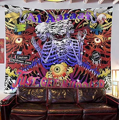 Punk Rock Skull Tapiz de esqueleto humano Graffiti para colgar en la pared, grueso y corto, mantel de franela, color negro, gótico, fondo gótico