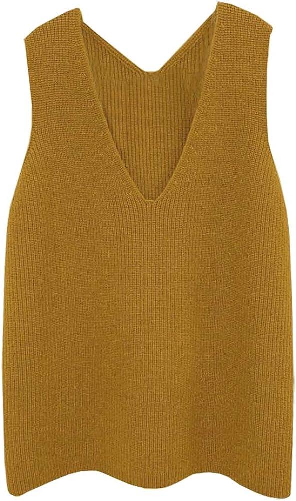 CYSTYLE Damen Strickweste Pullunder Weste Fr/ühling und Herbst /Ärmellose V-Ausschnitt Strickjacke Cardigan Strickweste Vest Top Outwear