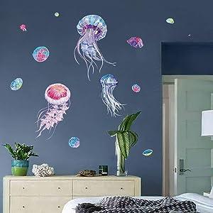 decalmile Ocean Jellyfish Wall Stickers Under The Sea Wall Decals Bedroom Living Room Bathroom Window Wall Decor