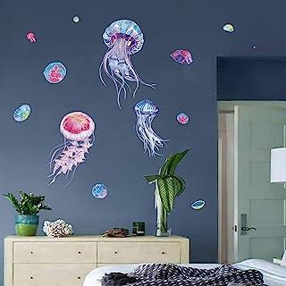 decalmile Stickers Muraux Méduse Océan Autocollant Mural sous la Mer Décoration Murale Chambre Enfants Bébé Pépinière Sall...