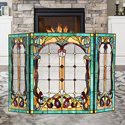 Capulina Tiffany Style Fireplace Screen W44 x H28 Mission Style Gas and Wood Burning Fireplaces 3...