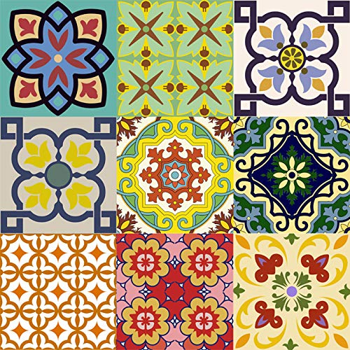 Mi Alma Backsplash Tile Stickers 24 PC Set Traditional Talavera Tiles Stickers Bathroom & Kitchen Tile Decals Easy to Apply Just Peel and Stick Home Decor 4x4 Inch (Backslash Peel and Stick C)